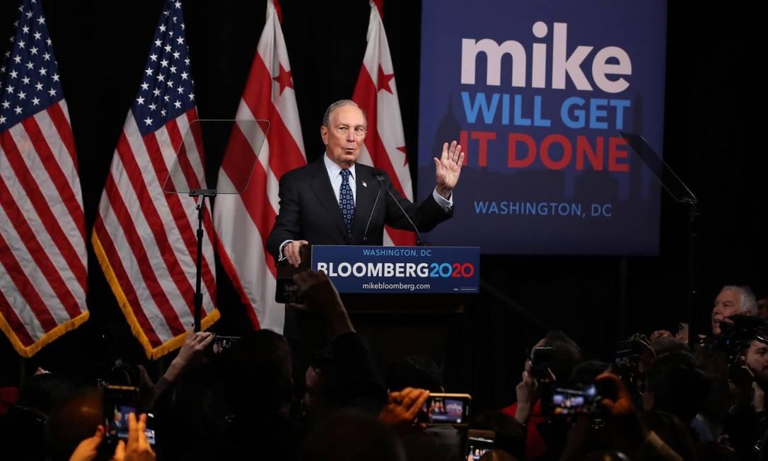 Ex-prefeito Michael Bloomberg durante comício na Flórida Foto: Mark Wilson / AFP / 30-01-2020