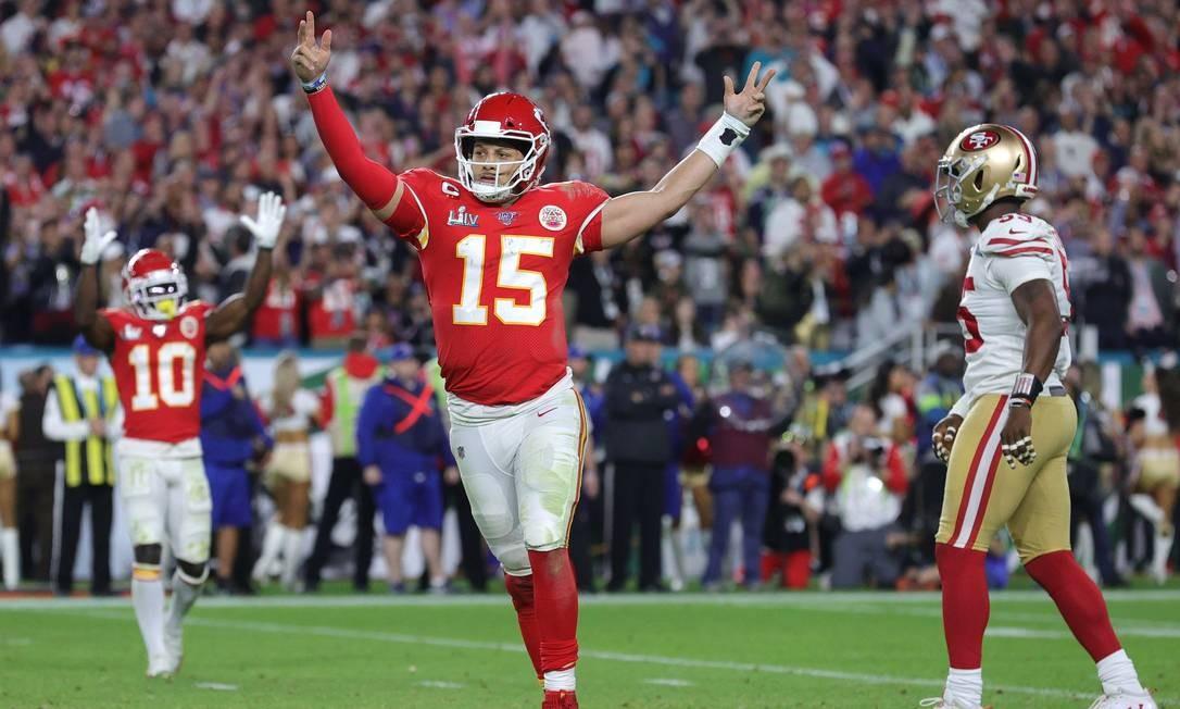 Mahomes foi o MVP do Super Bowl Foto: JAMIE SQUIRE / AFP
