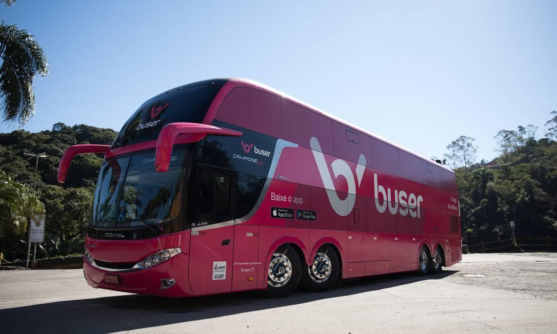 Ônibus da Buser: operação iniciada há cerca de um mês Foto: Divulgação