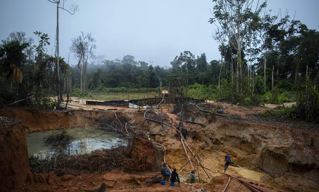 Garimpo ilegal de ouro na reserva indigena Yanomami, em Roraima Foto: Daniel Marenco / Agência O Globo