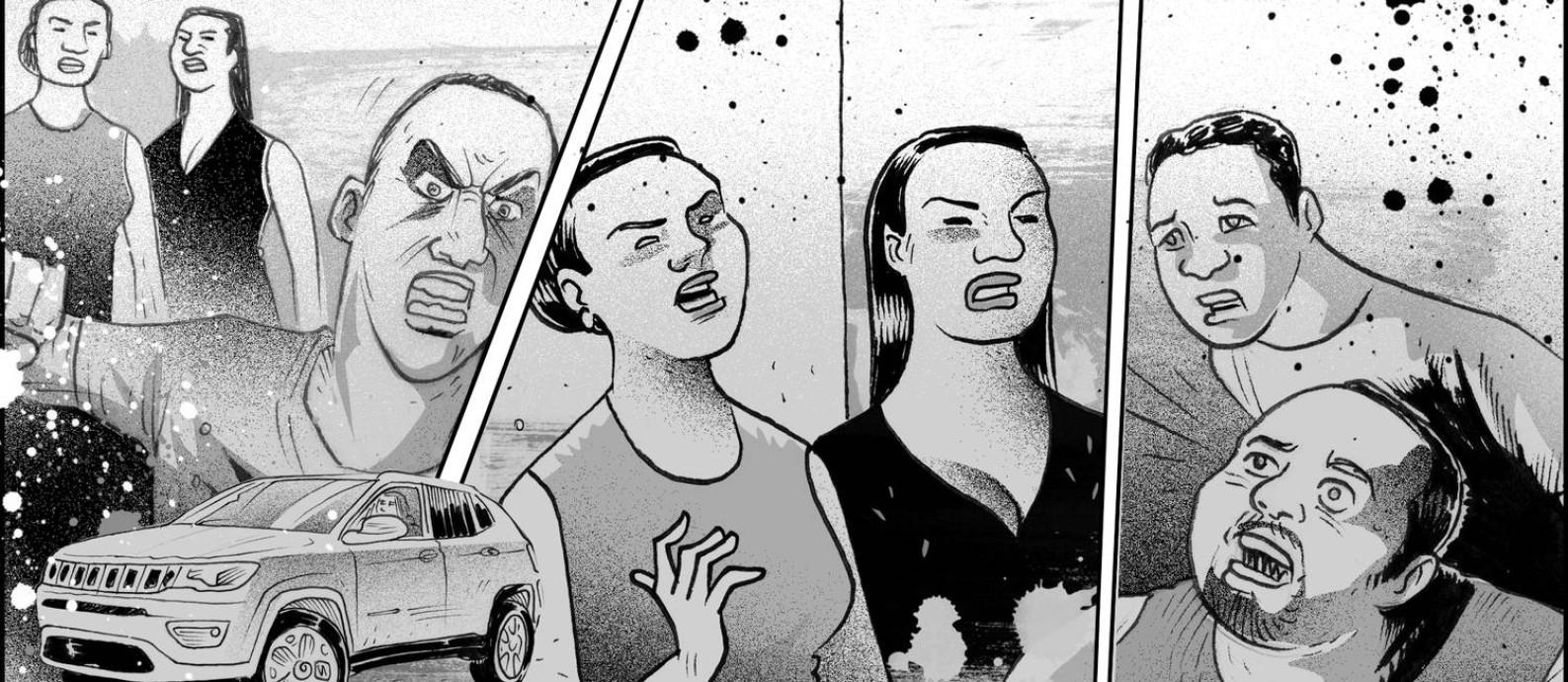 Pai, mãe e filho foram mortos em São Bernardo do Campo (SP) e tiveram os corpos carbonizados Foto: Ilustração de André Mello