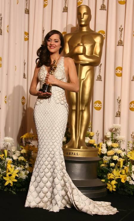 Em 2008, deu o que falar o vestido de sereia da vencedora do prêmio de melhor atriz Marion Cotillard. A francesa escolheu um Jean Paul Gaultier para seu grande momento. Foto: Steve Granitz / WireImage