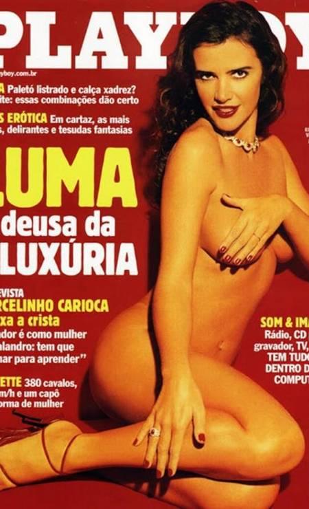 Luma é a capa lendária da revista masculina 'Playboy' no Brasil em maio de 2001 Foto: Reprodução