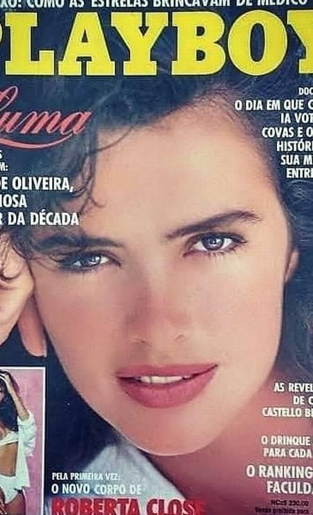 """""""Luma de Oliveira, a gloriosa mulher da década"""", eleita pelos leitores da """"Playboy"""", em março de 1990 Foto: Reprodução"""