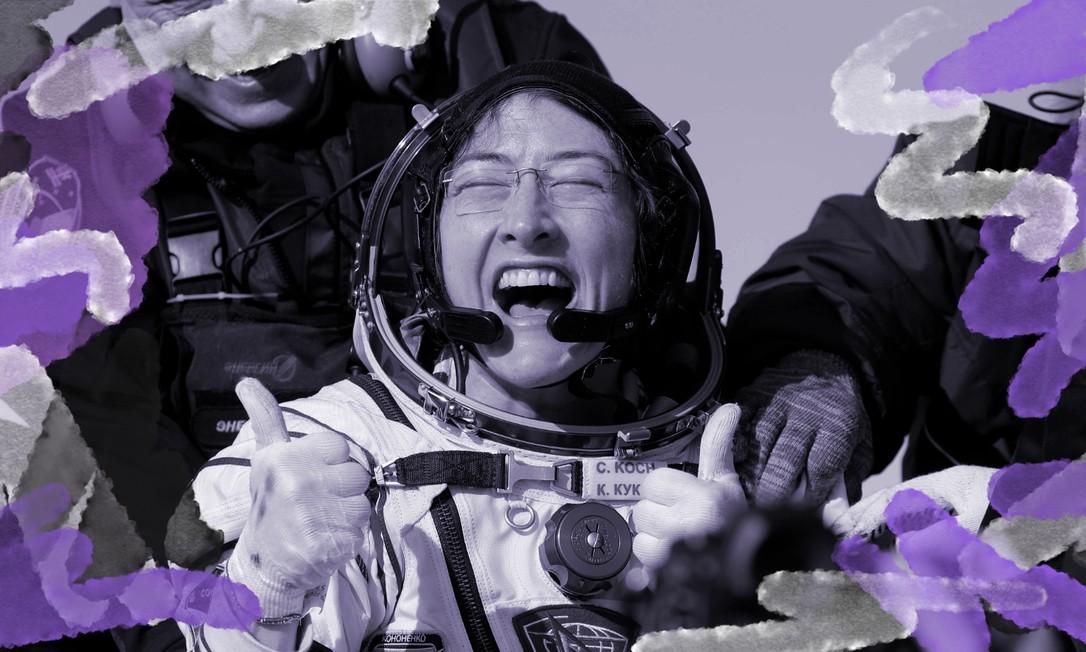 A astronauta Christina Koch logo depois de pousar em uma área remota da cidade de Dzhezkazgan, no Cazaquistão, no dia 6 de fevereiro. Ela agora é dona do recorde de permanência em órbita de uma mulher astronauta depois de passar 328 dias na Estação Especial Internacional Foto: Sergei ILNITSKY/POOL/ AFP