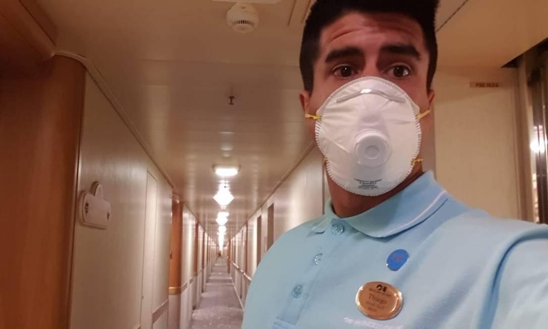 O brasileiro Thiago Soares está em quarentena em navio no Japão Foto: arquivo pessoal