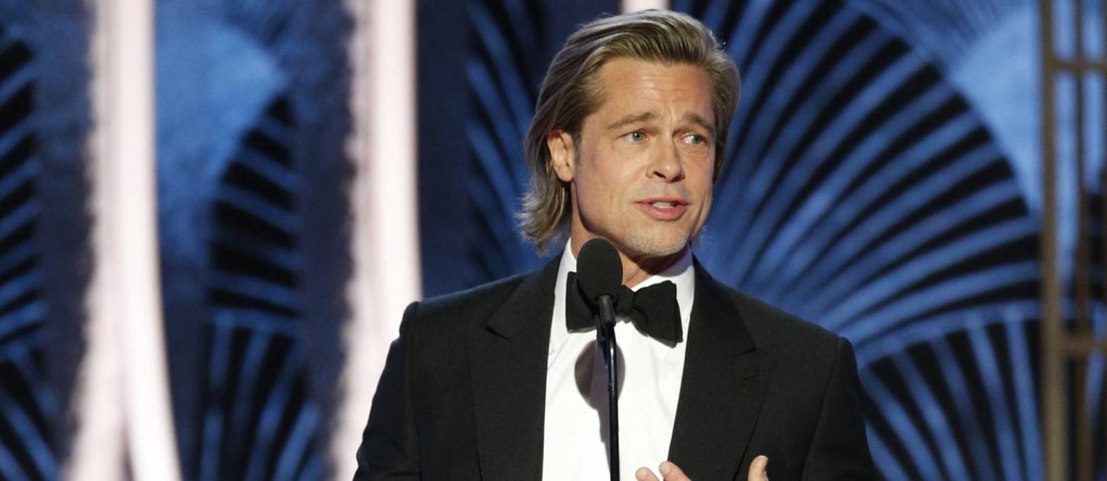 Brad Pitt no Globo de Ouro: favorito ao Oscar, ator caprichou nas piadas nos discursos desta temporada Foto: HANDOUT / Reuters