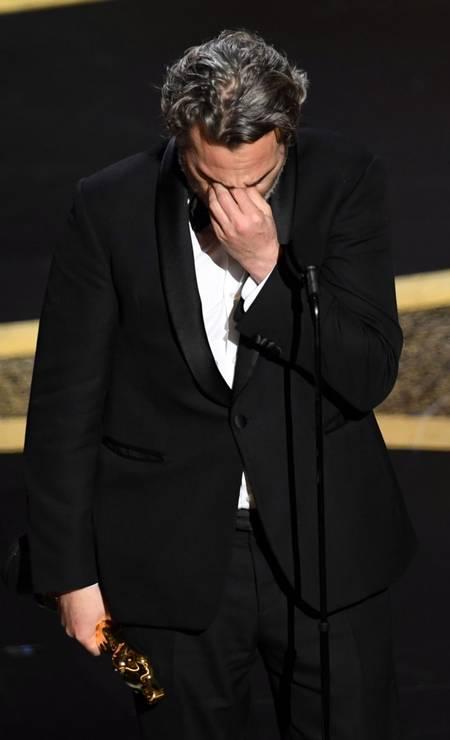 Joaquin Phoenix destacou em seu discurso que 'lutar pelos direitos dos animais, LGBTs e mulheres é lutar contra injustiças' Foto: KEVIN WINTER / AFP