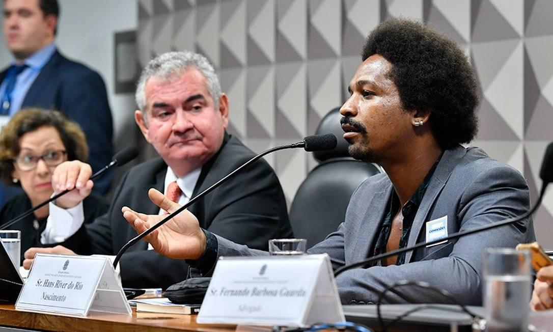 Hans River do Rio Nascimento depõe à CPMI das Fake News Foto: Jane de Araújo / Agência Senado
