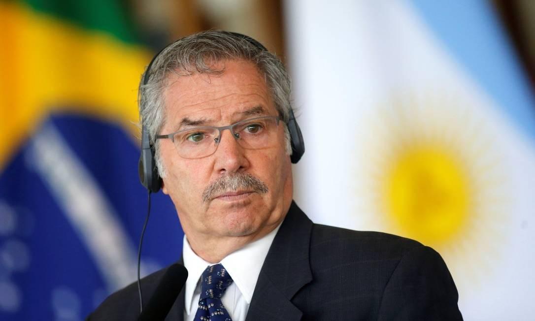 O chanceler argentino, Felipe Solá, durante entrevista coletiva no Itamaraty: reaproximação com Brasil Foto: ADRIANO MACHADO / REUTERS