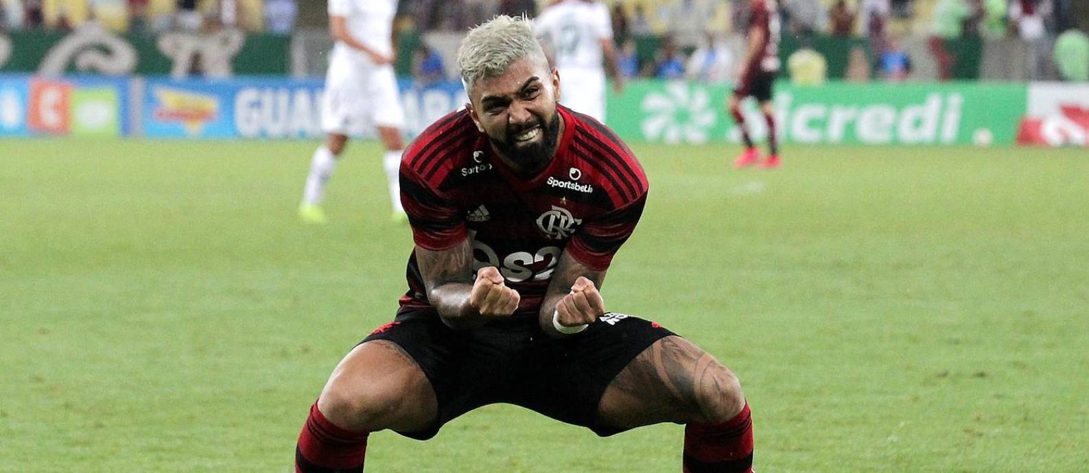 Gabigol comemora o segundo gol do Flamengo sobre o Fluminense Foto: MARCELO THEOBALD / Agência O Globo