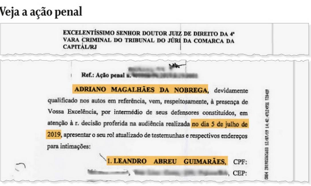 Pedido da defesa de Adriano da Nóbrega apresentou Leandro Guimarães como testemunha Foto: Reprodução