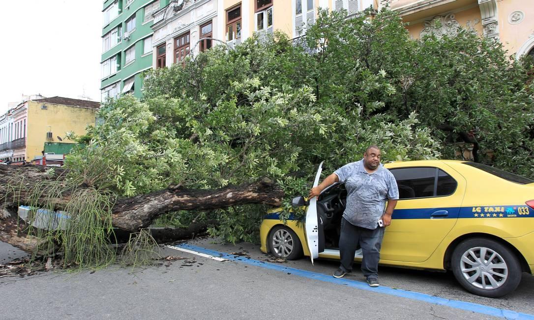 """Árvore atingiu a frente de um táxi. """"Foi um susto muito grande"""" disse o taxista Leonardo de Oliveira Tobias, que não sofreu nenhum ferimento Foto: Gabriel de Paiva / Agência O Globo"""