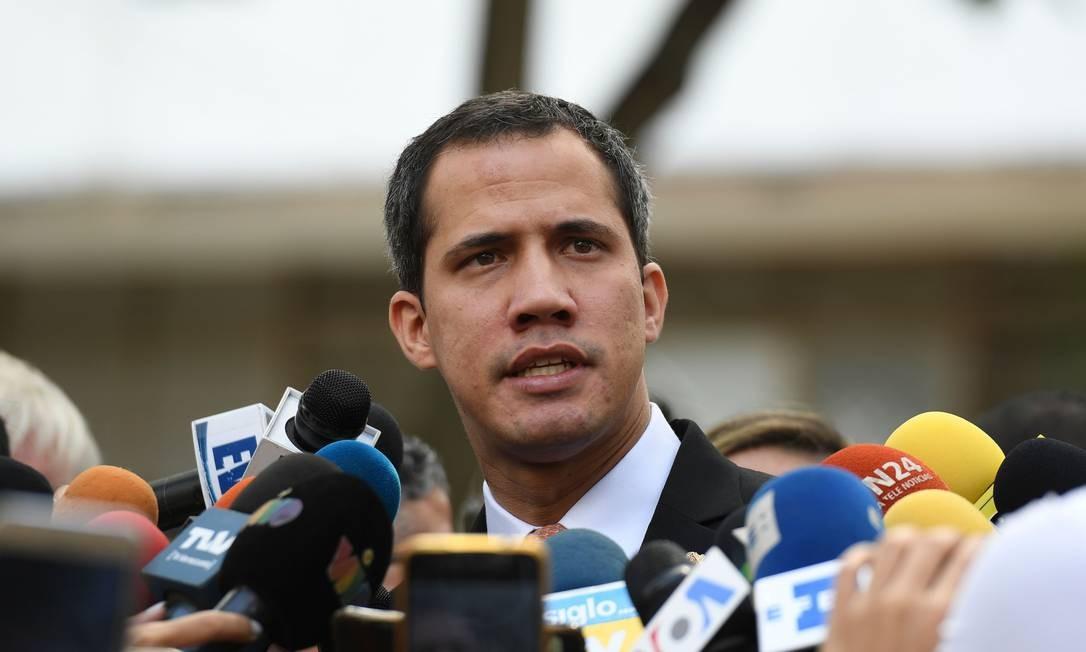 Líder da oposição e presidente autoproclamado da Venezuela, Juan Guaidó denuncia prisão contra tio Foto: YURI CORTEZ / AFP