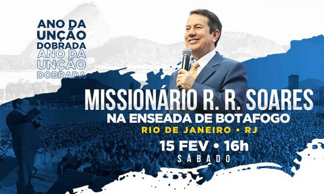 Evento anunciado por igreja evangélica fundada por RR Soares Foto: Reprodução