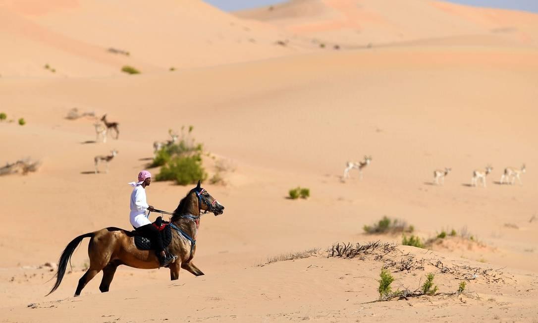 Homem cavalga entre as gazelas perto do oásis do deserto de Al Ain, nos Emirados Árabes Unidos Foto: Karim Sahib / AFP