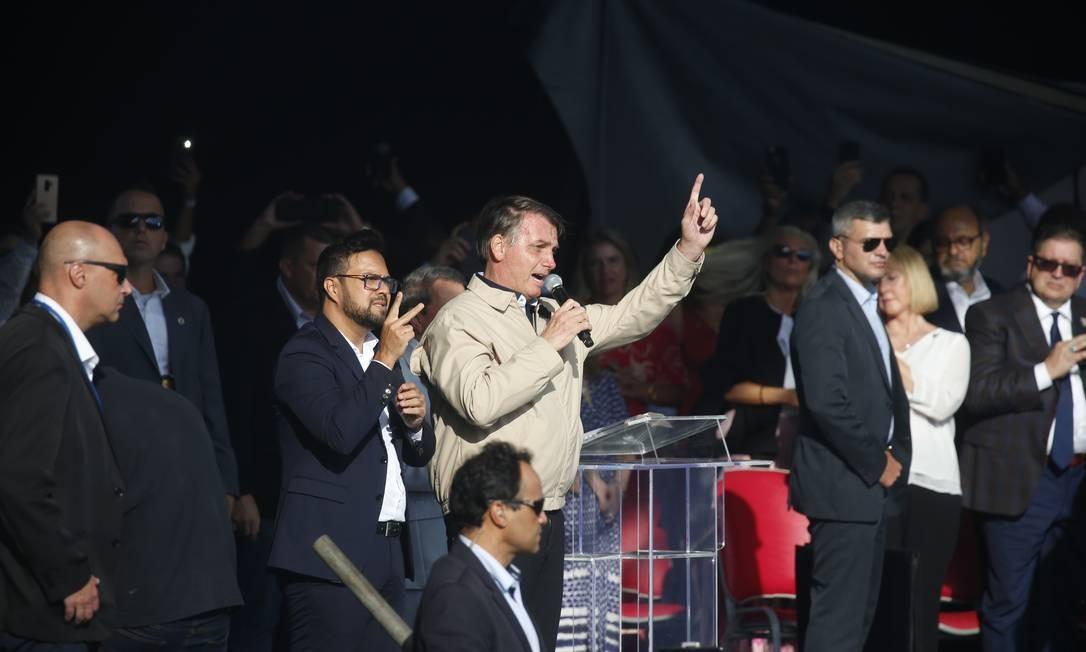 O presidente Jair Bolsonaro durante evento evangélico na enseada de Botafogo Foto: Marcio Alves / Divulgação