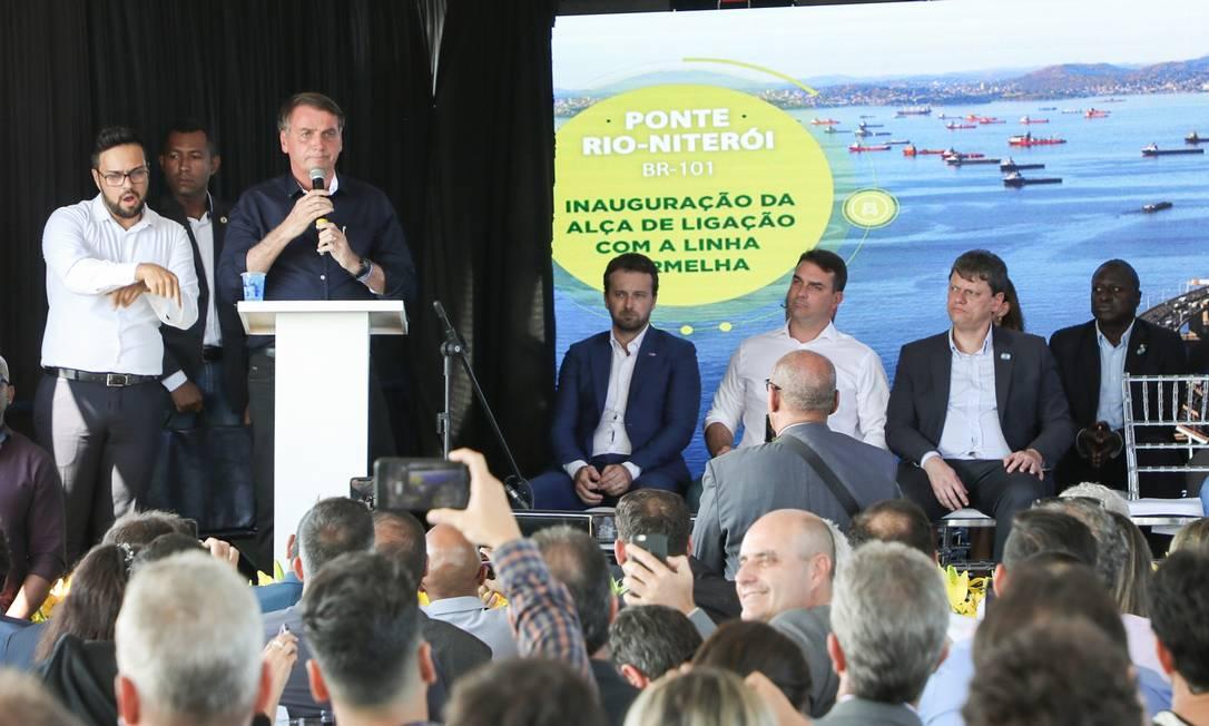 Bolsonaro participa de inauguração da alça viária da Ponte Rio-Niterói Foto: Clauber Cleber Caetano/PR