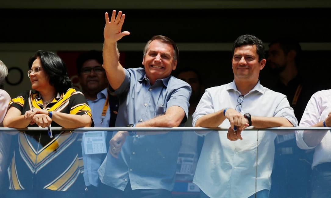 Damares, Bolsonaro e Moro assistem à partida da Supercopa do Brasil Foto: ADRIANO MACHADO / REUTERS