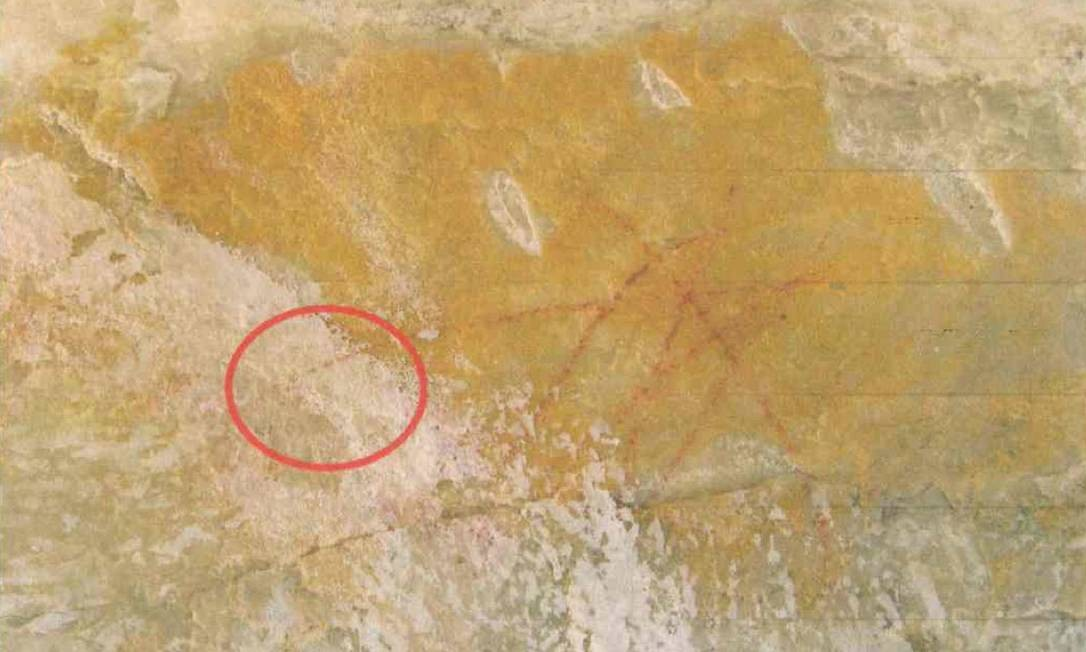 Imagem aponta tinta branca por cima de pinturas rupestres em Diamantina, Minas Gerais Foto: Divulgação/MP-MG