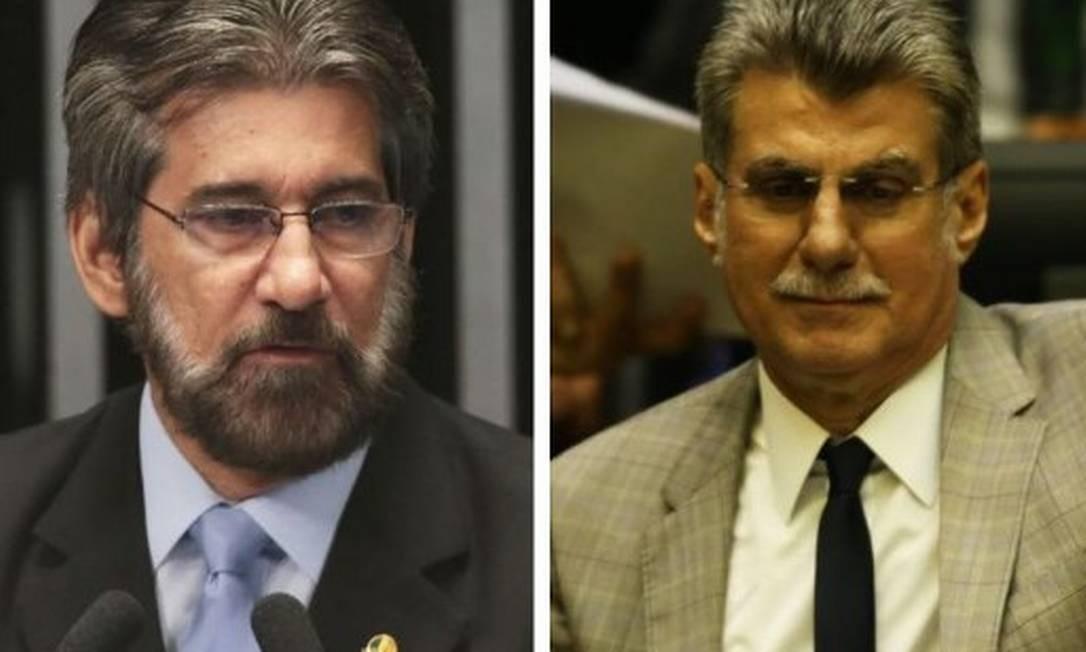 Ex-senadores Valdir Raupp (MDB-RO) e Romero Jucá (MDB-RR): denunciados por corrupção na Transpetro Foto: Agência O Globo