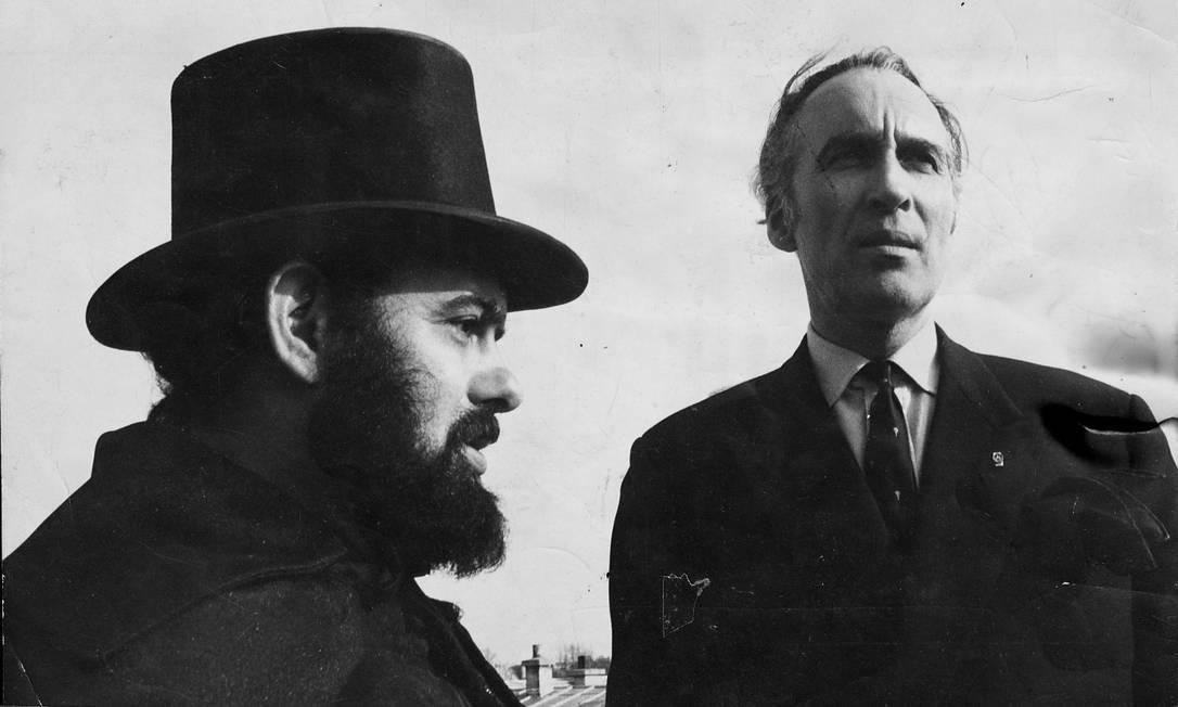 José Mojica Marins em 1974 com o ator Christopher Lee J Foto: Arquivo