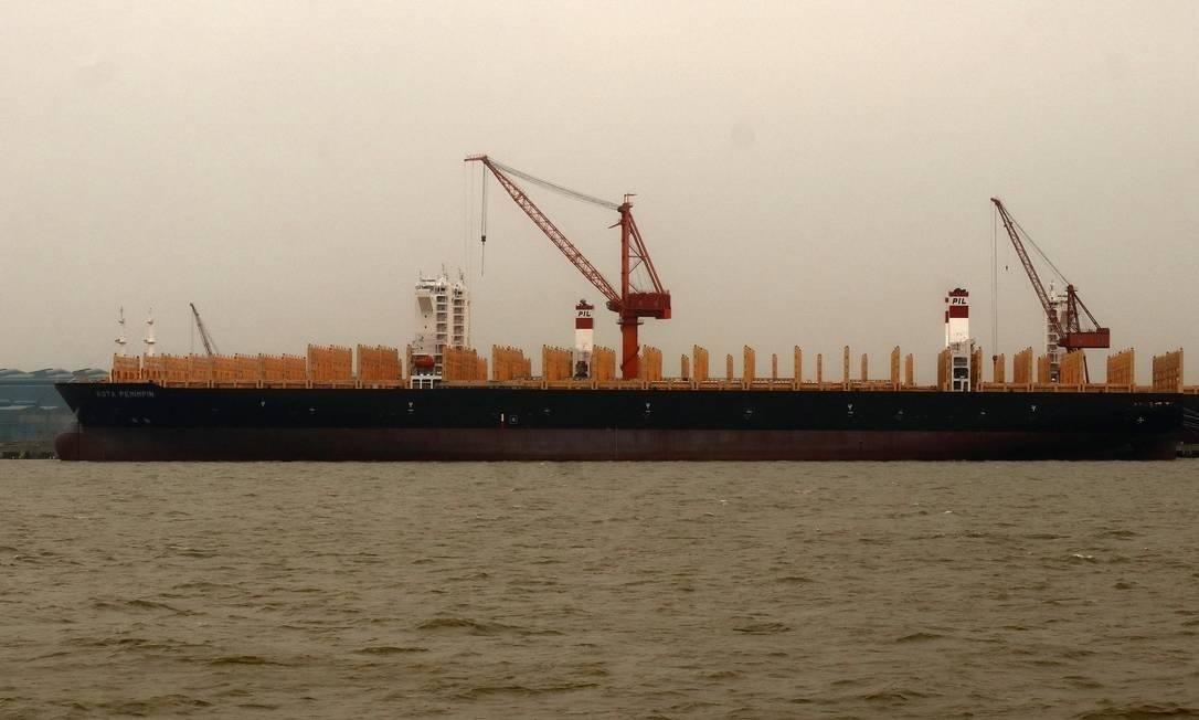 O navio carguerio Kota Pemimpin, com bandeira de Hong Kong, teve tripulantes com sintomas gripais Foto: EZEK/CC