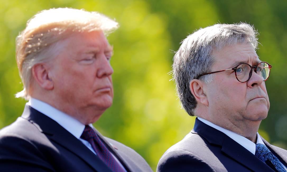 Presidente americano, Donald Trump, e secretário de Justiça, William Barr, durante evento no Capitólio, em maio de 2019 Foto: CARLOS BARRIA / REUTERS
