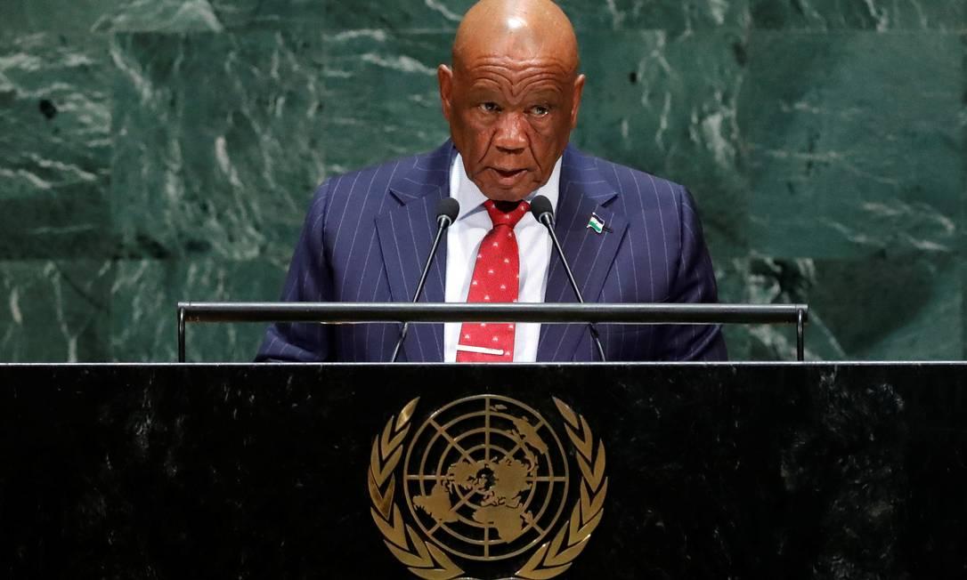 Thomas Motsoahae Thabane, premier do Lesoto, durante discurso na ONU em 2019 Foto: Lucas Jackson / REUTERS