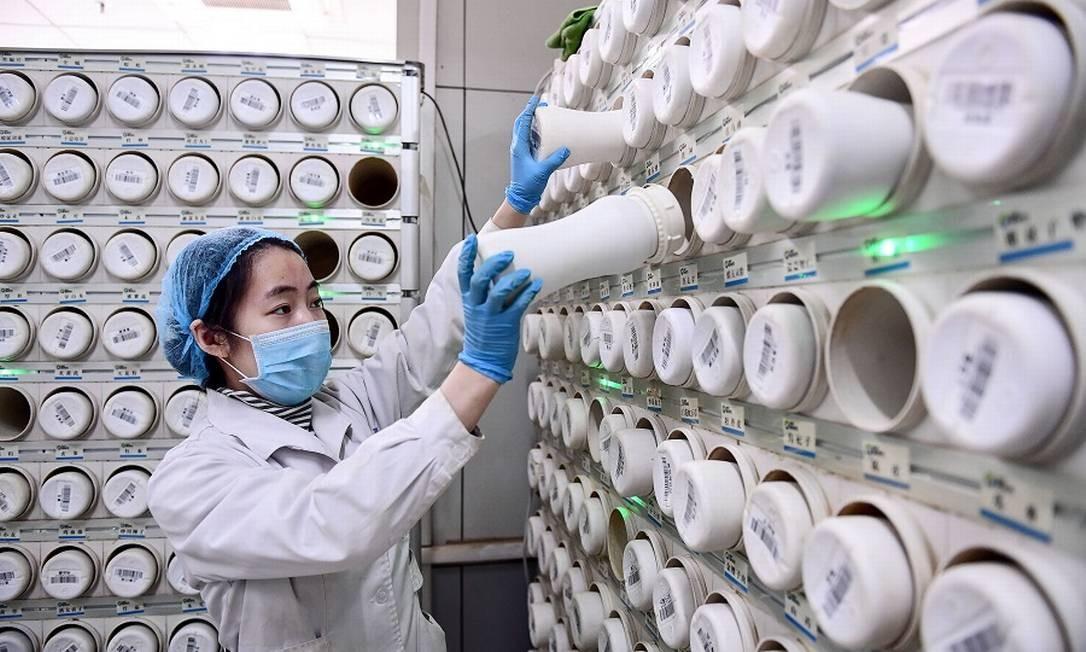 Produção de remédios em hospital chinês, em meio ao surto do coronavírus Foto: STR / AFP