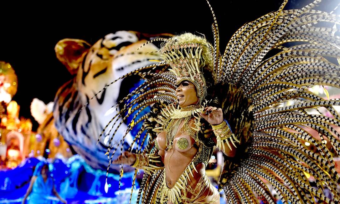 Passista da Porto da Pedra desfila com o tigre ao fundo, símbolo da escola Foto: DIEGO MARTINS MENDES / Agência O Globo