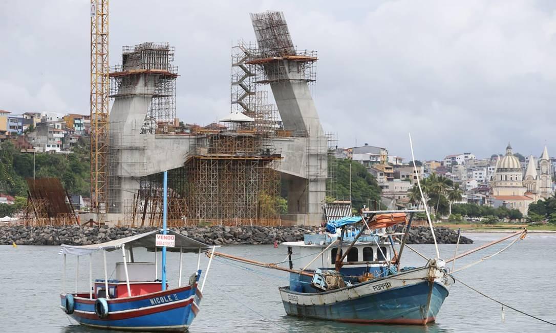 Obras de construção da Ponte Ilhéus-Pontal, na Bahia. Foto: Mateus Pereira / Divulgação