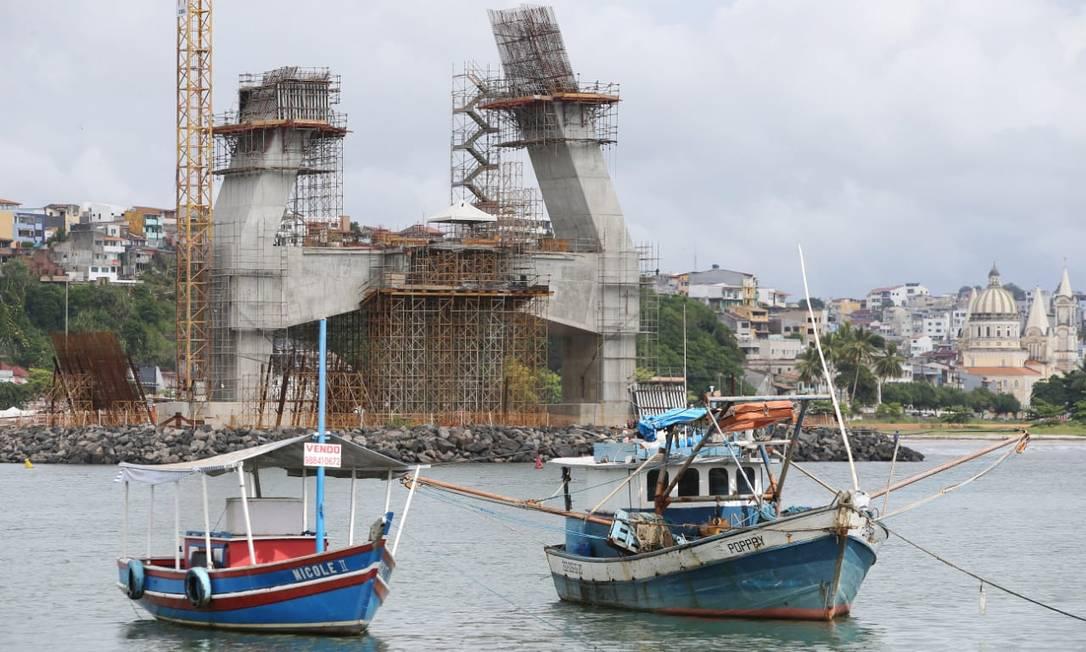 Início da construção da Ponte Ilhéus - Pontal, no sul da Bahia, em dezembro de 2018 Foto: Mateus Pereira/GOVBA / Mateus Pereira/GOVBA