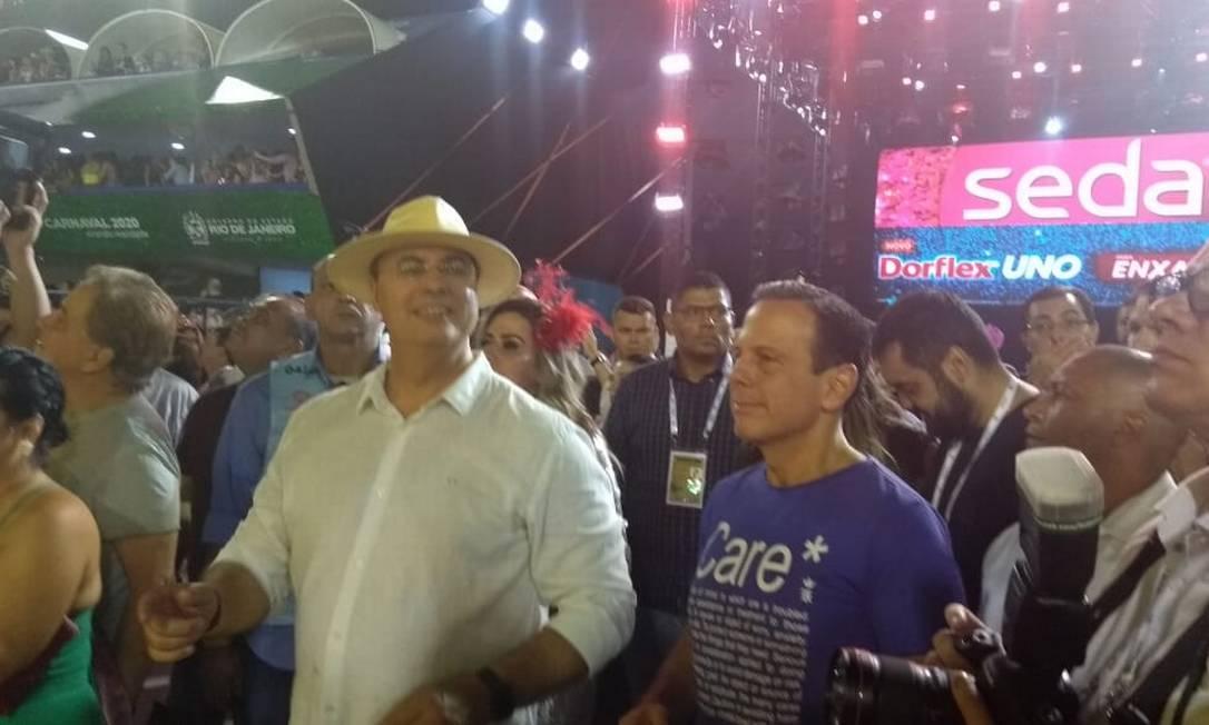 Governador de São Paulo, João Doria, ao lado de Wilson Witzel, na Sapucaí Foto: Paulo Capelli