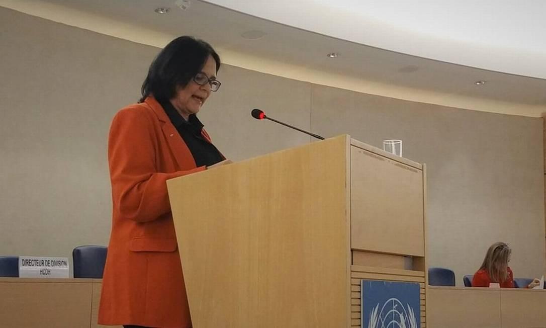 A ministra da Mulher, da Família e dos Direitos Humanos, Damares Alves, durante discurso em Genebra Foto: Divulgação