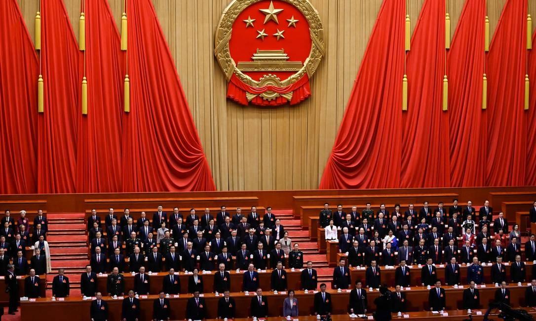 Sessão do Congresso Nacional do Povo, em março de 2019 Foto: WANG ZHAO / AFP