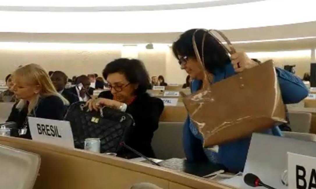 Damares Alves deixa reunião da ONU, em Genebra, em protesto contra Venezuela Foto: Reprodução