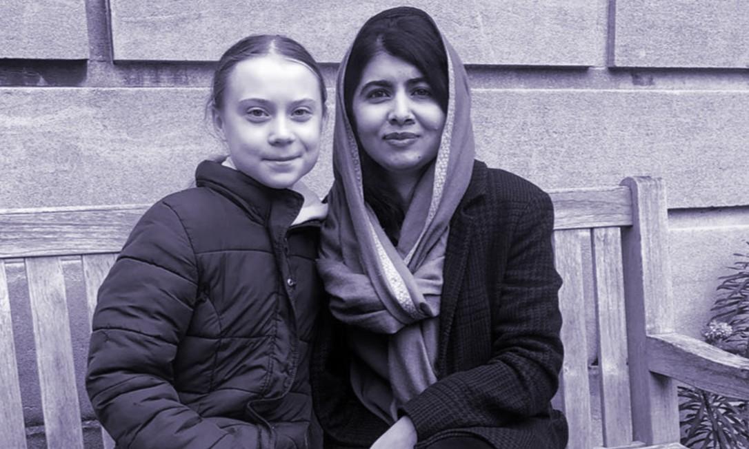 Greta Thunberg e Malala Yousafsai na Universidade de Oxford Foto: Reprodução Instagram