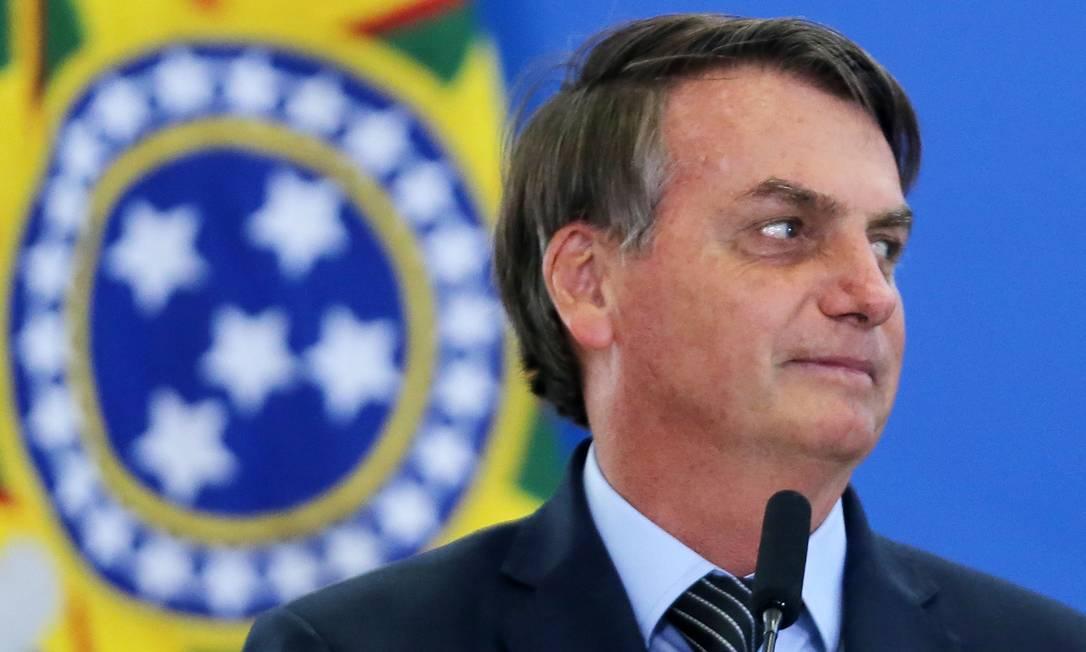 O presidente Jair Bolsonaro, durante cerimônia no Palácio do Planalto Foto: Jorge William/Agência O Globo/20-02-2020