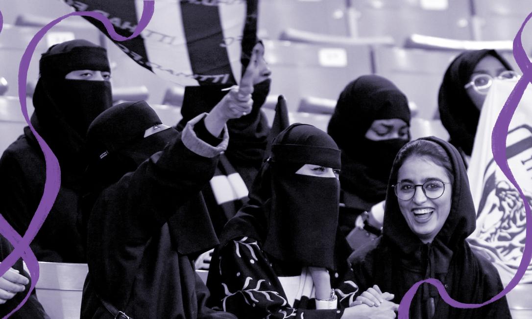 Mulheres assistem a partida do Al-Hilal contra o Al Ittihad no estádio King Fahd em Riade, Arábia Saudita. Pela primeira vez as sauditas puderam entrar em um estádio para ver um jogo de futebol Foto: FAISAL AL NASSER / REUTERS