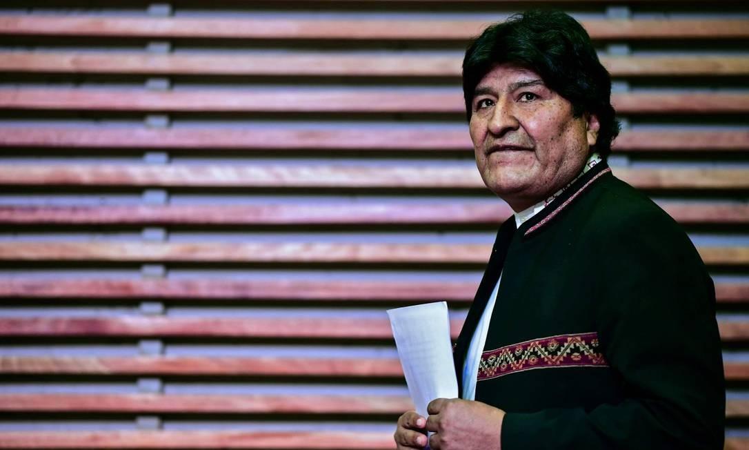 O ex-presidente da Bolívia Evo Morales chega a uma conferência de imprensa em Buenos Aires, em 21/02/20 Foto: RONALDO SCHEMIDT / AFP