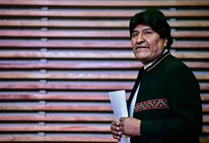 Ex-presidente boliviano Evo Morales chega em entrevista coletiva em Buenos Aires no dia 21/02/20 Foto: RONALDO SCHEMIDT / AFP