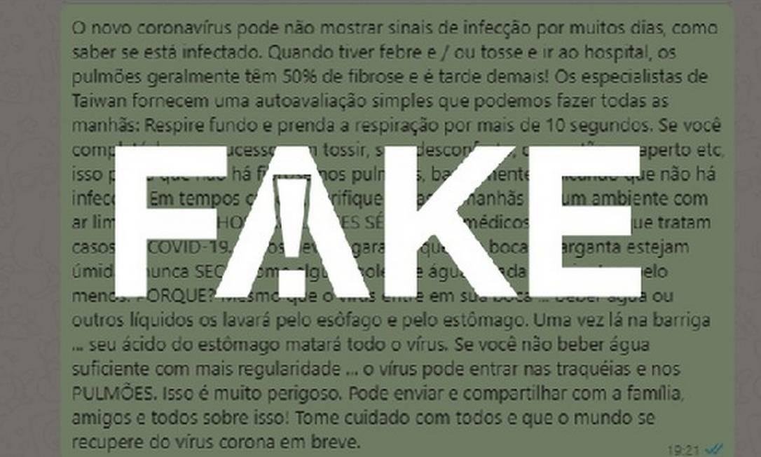 É #FAKE mensagem que manda prender respiração por 10 segundos para verificar se tem fibrose Foto: G1