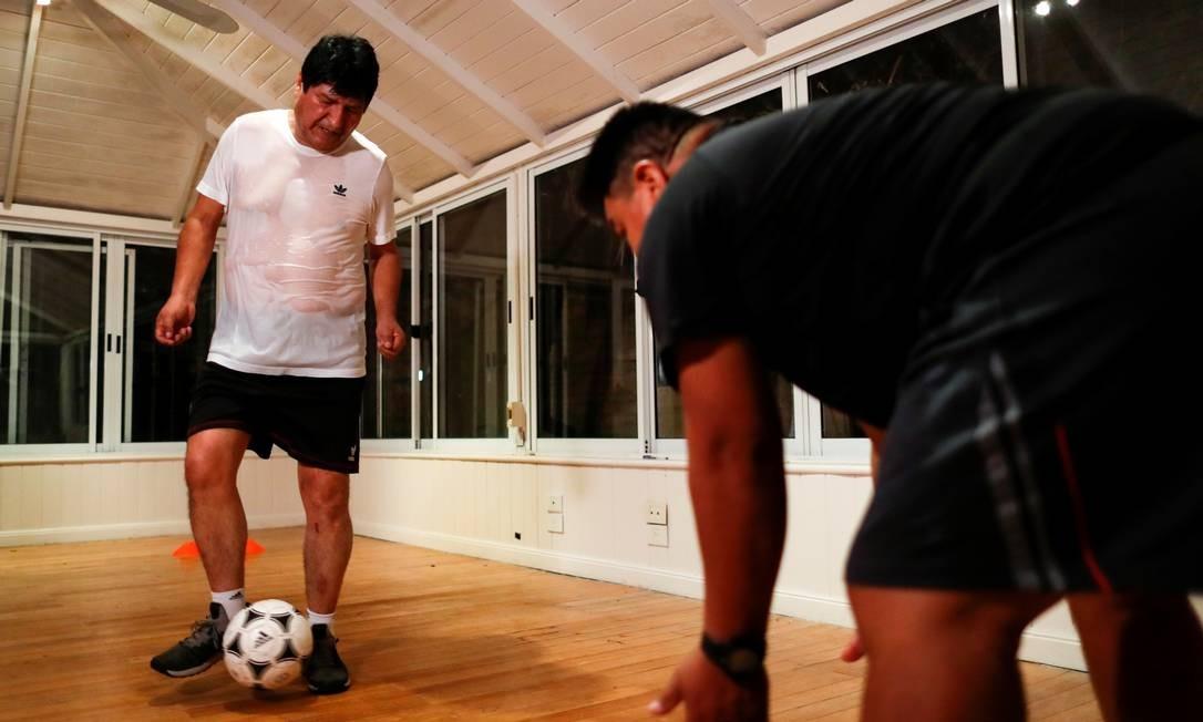 Ex-presidente da Bolívia, Evo Morales mantém rotina de exercícios físicos em Buenos Aires, onde mora há meses Foto: AGUSTIN MARCARIAN / REUTERS/03-03-2020