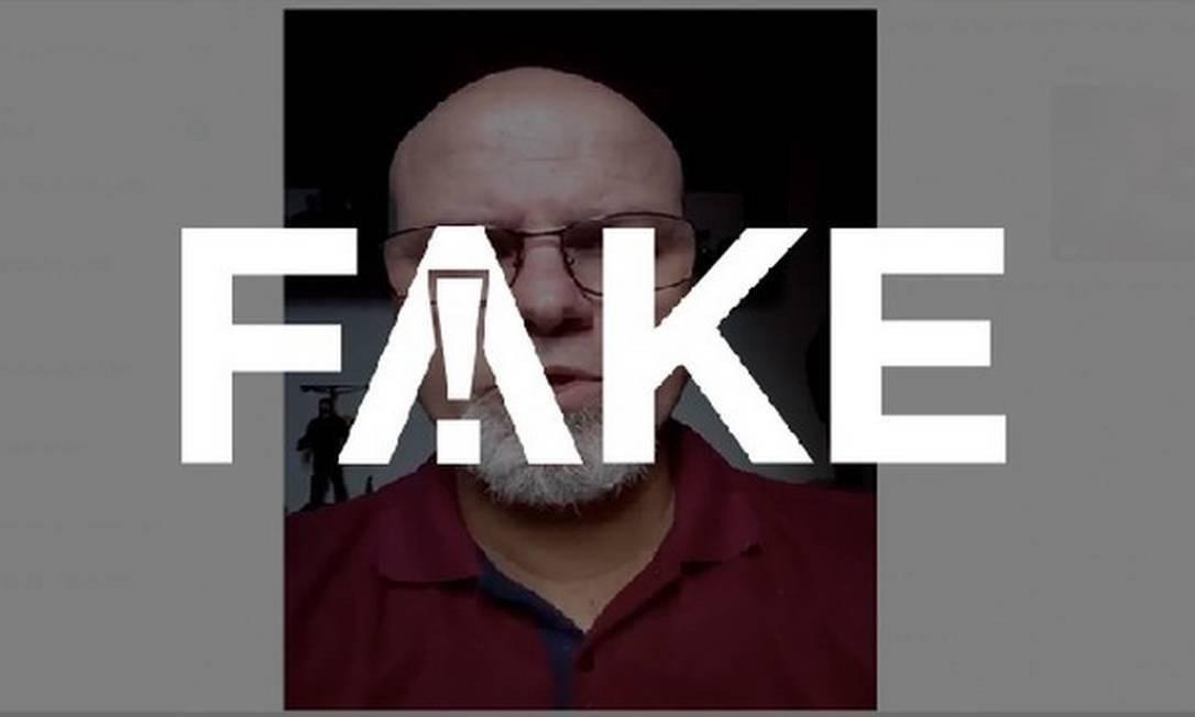 É #FAKE mensagem em vídeo em que homem diz que álcool gel não funciona e recomenda vinagre Foto: Reprodução