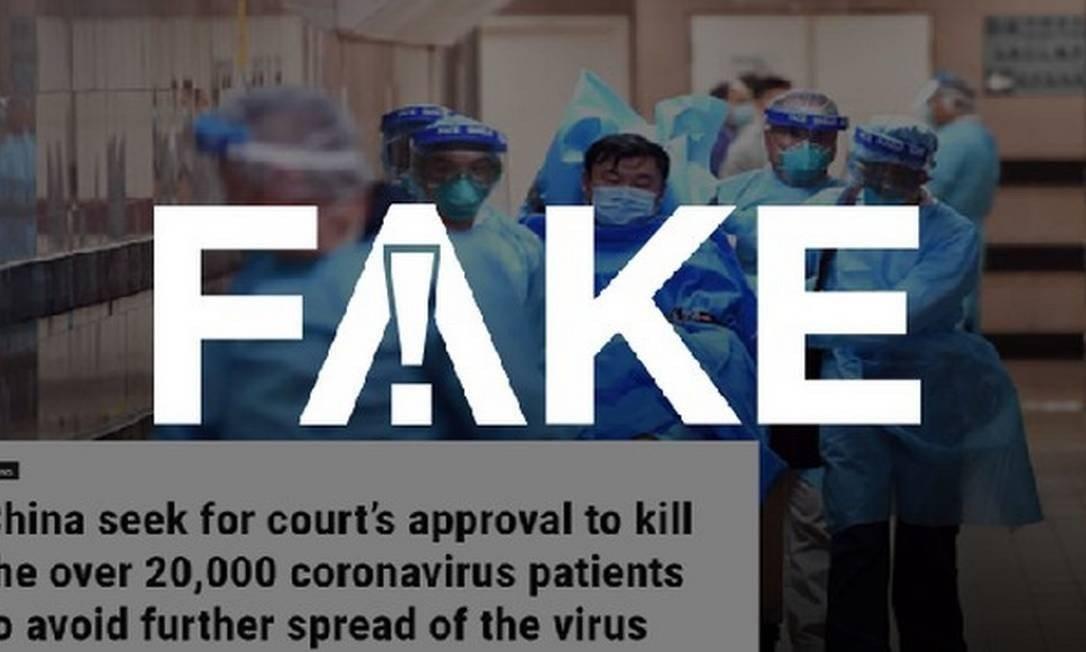 É #FAKE que governo chinês busca aprovação para matar 20 mil pacientes com coronavírus Foto: Reprodução