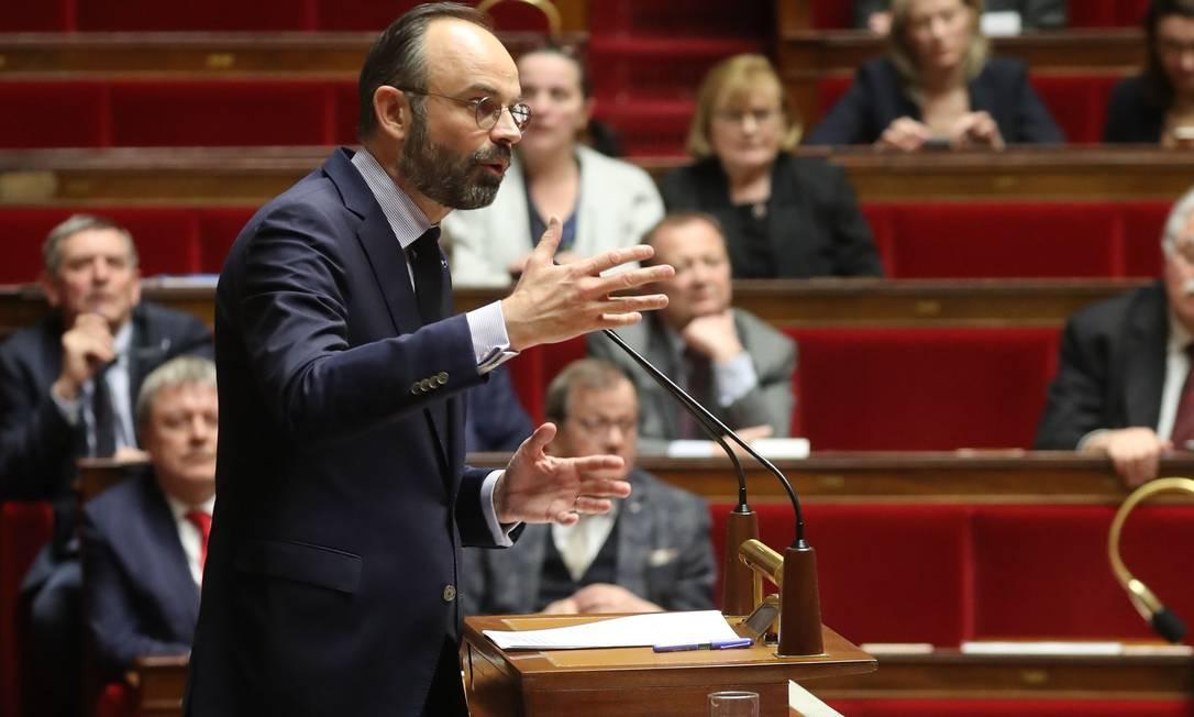 O primeiro-ministro Edouard Philippe durante o debate das moções de censura na Assembleia Nacional Foto: LUDOVIC MARIN / AFP/03-03-2020