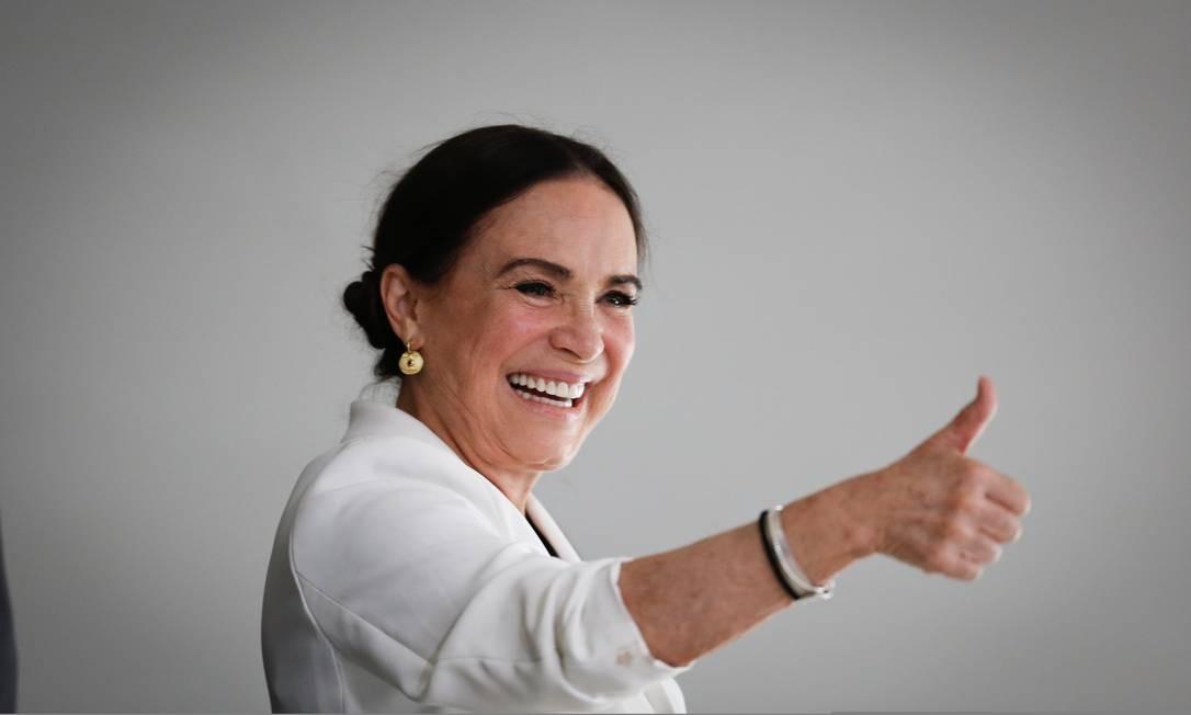 Regina Duarte em sua posse na Secretaria Especial da Cultura Foto: Pablo Jacob / Agência O Globo