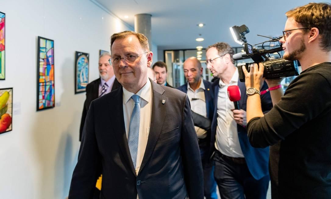 Bodo Ramelow, após ser eleito para comandar a Turíngia Foto: JENS SCHLUETER / AFP