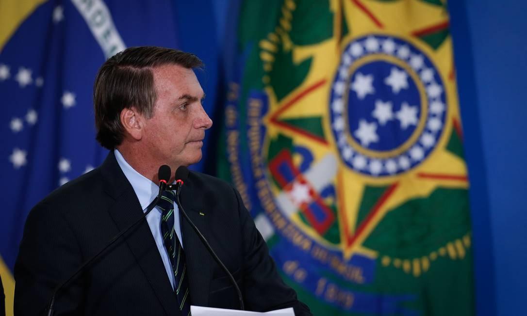 O presidente Jair Bolsonaro, durante cerimônia no Palácio do Planalto Foto: Pablo Jacob / Agência O Globo